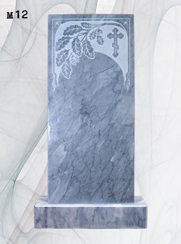 Мраморный памятник резной ветка дуба