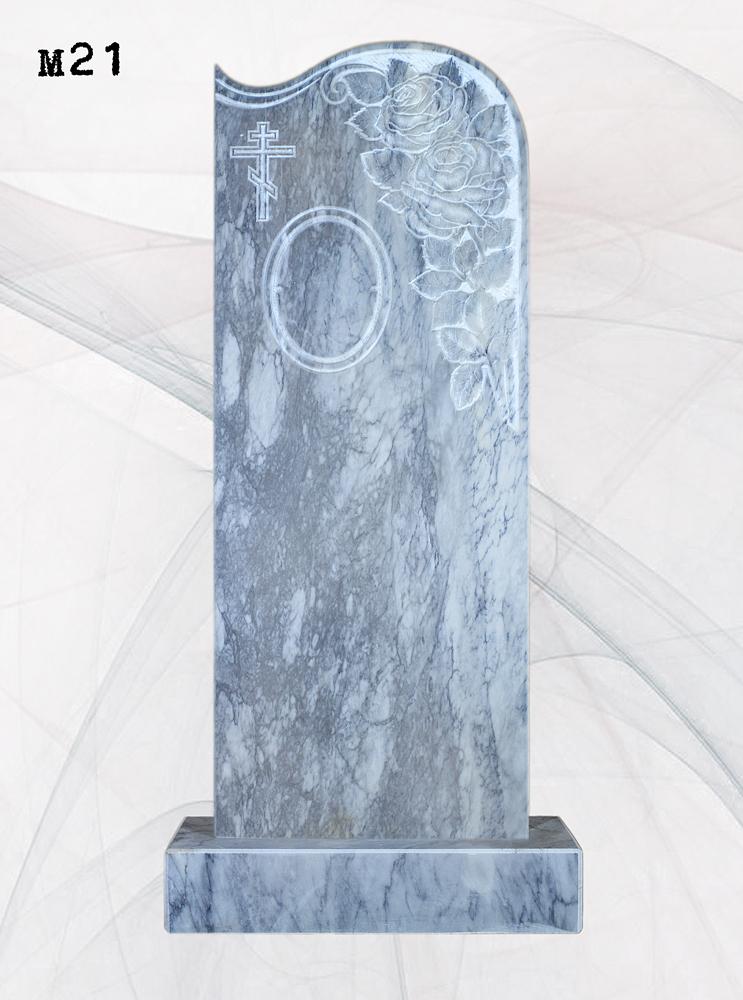 Мраморный памятник резной розы волна