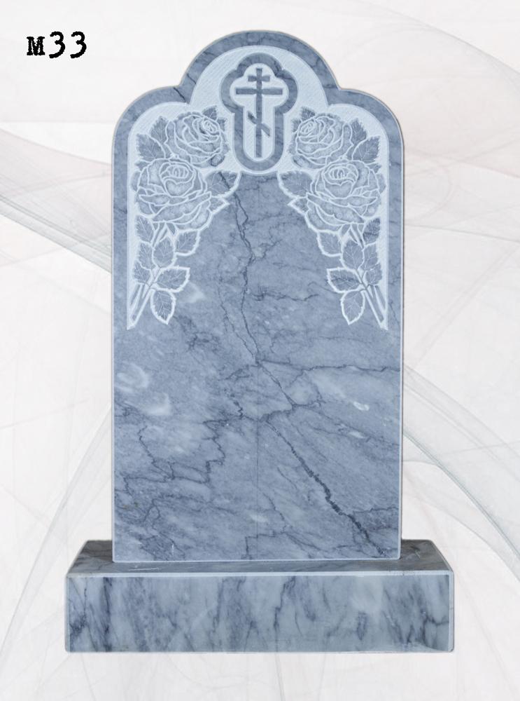 Мраморный памятник резной розы крест