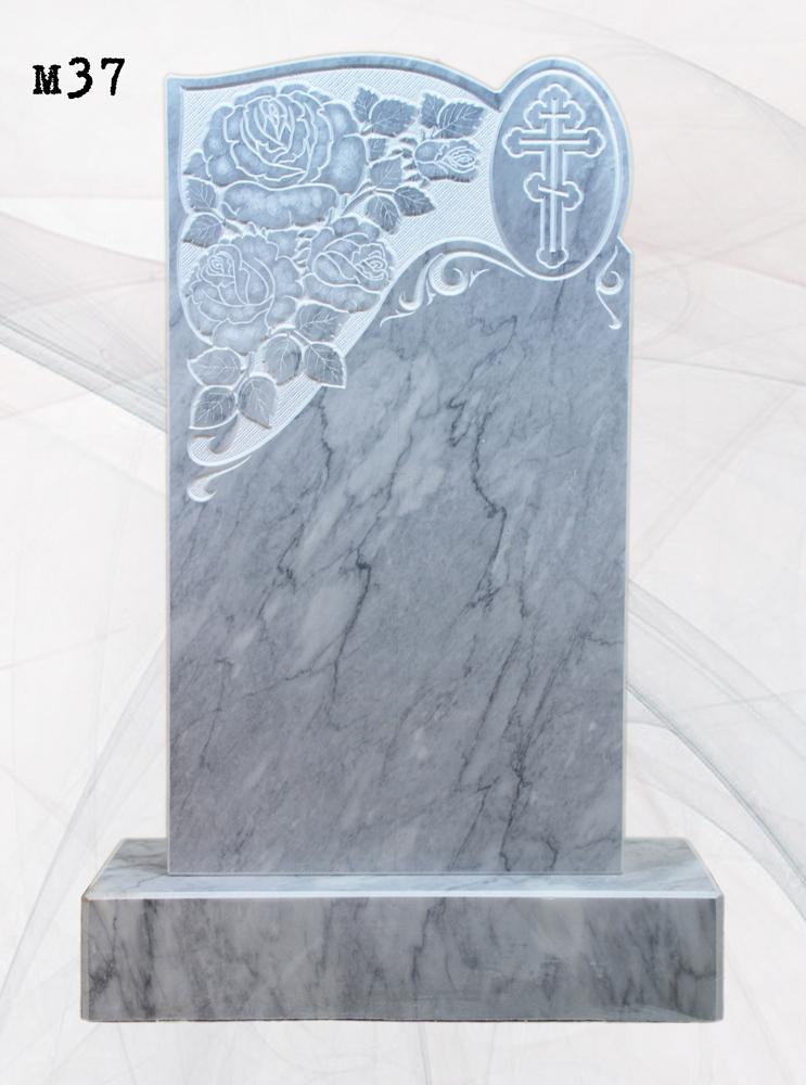 Мраморный памятник резной розы и крест