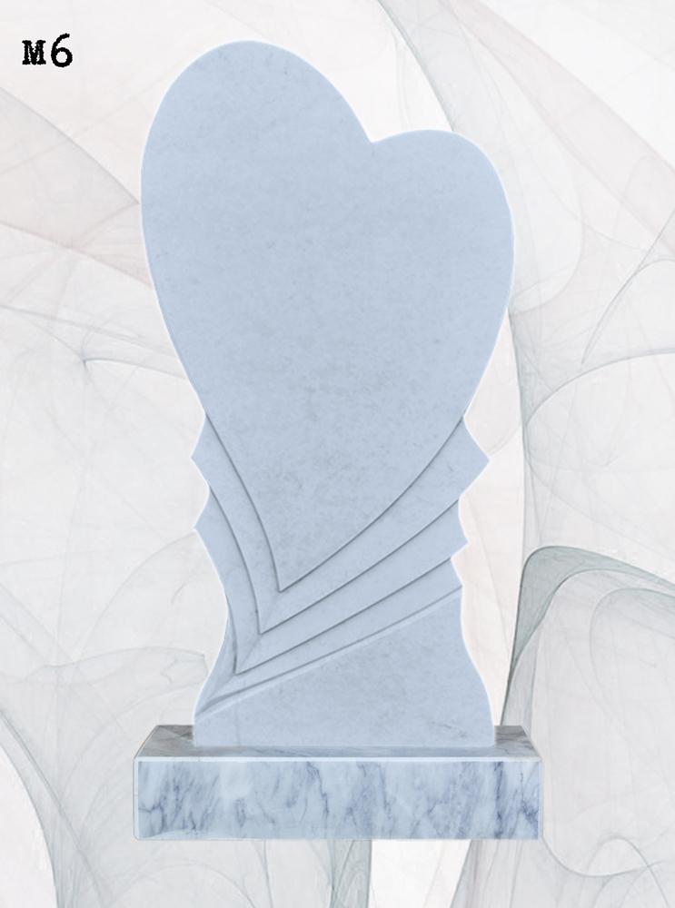Мраморный памятник резной сердце с 3D выборкой