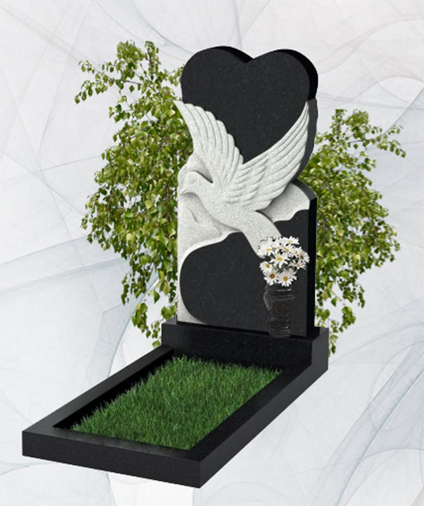 Фигурный гранитный памятник китай и карелия сердце и голубь